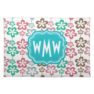 Mod Floral Pattern Teal Three Letter Monogram Cloth Placemat