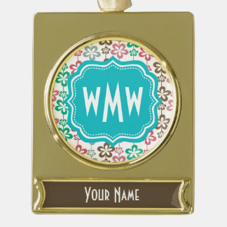 Mod Floral Pattern Teal Three Letter Monogram Gold Plated Banner Ornament