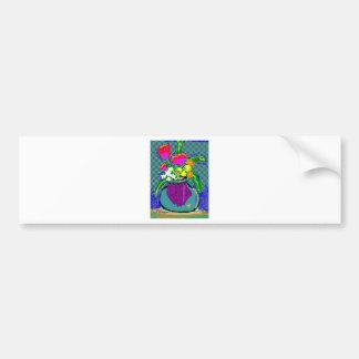 Mod Flower Bouquet When Im Feeling blue Bumper Sticker