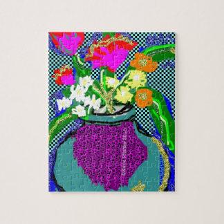 Mod Flower Bouquet When Im Feeling blue Jigsaw Puzzle
