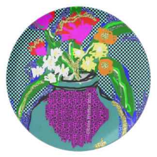 Mod Flower Bouquet When Im Feeling blue Plate