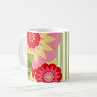 Mod Flower with Green and White Stripes Coffee Mug