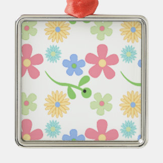 Mod Flowers Silver-Colored Square Decoration