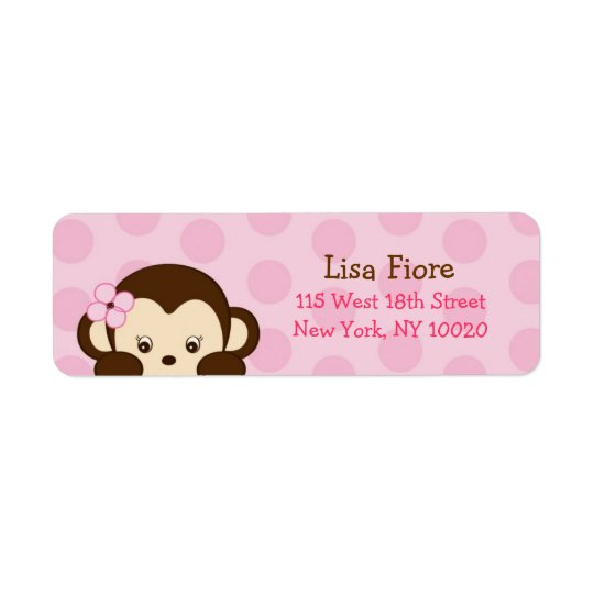 Mod Girl Monkey Baby Shower Address Labels