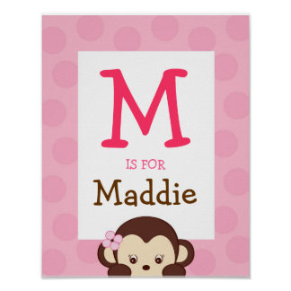 Mod Girl Monkey Dot Nursery Wall Art Name Print