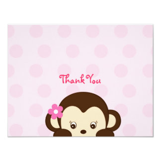 Mod Girl Monkey Flat Thank You Note Cards