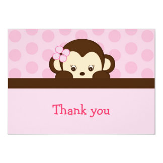 Mod Girl Monkey Flat Thank You Note Cards 13 Cm X 18 Cm Invitation Card