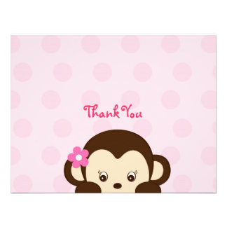 Mod Girl Monkey Flat Thank You Note Cards Personalized Invites