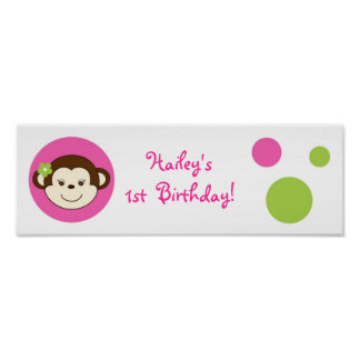 Mod Girl Monkey Pink Green Baby Shower Banner Sign Poster
