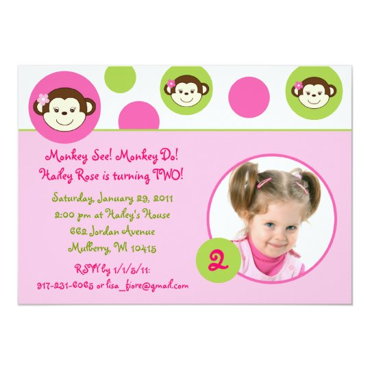 Mod Girl Monkey Pink Green Birthday Invitations
