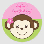 Mod Girl Monkey Pink Green Envelope Seals Stickers