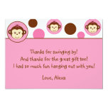 Mod Girl Monkey Thank You Note Cards Personalized Announcement