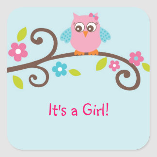 Mod Girl Owl Envelope Seals Stickers
