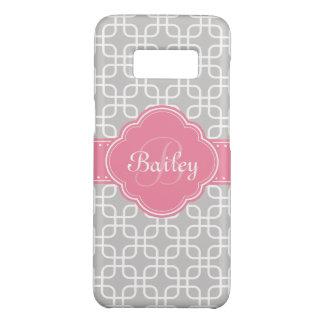Mod Grey Pattern Pink Quatrefoil Monogram Case-Mate Samsung Galaxy S8 Case
