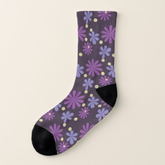 Mod Groovy flowers in lilac and purple Socks