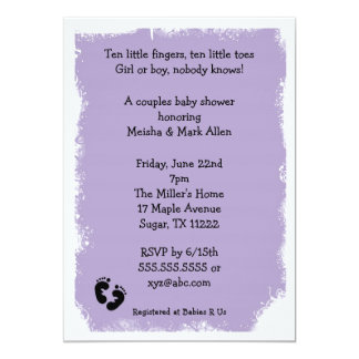 MOD Grunge purple baby shower feet neutral 13 Cm X 18 Cm Invitation Card