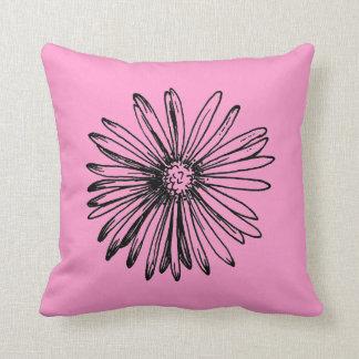 Mod Line Drawn Flower Pink Accent Pillow