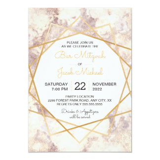Mod Marble Gold Bar Mitzvah party invite