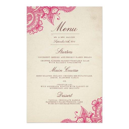 Mod Mehandi Wedding Dinner Menu Flyer