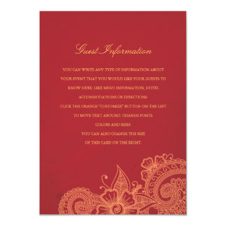 Mod Mehandi Wedding Information Insert Card