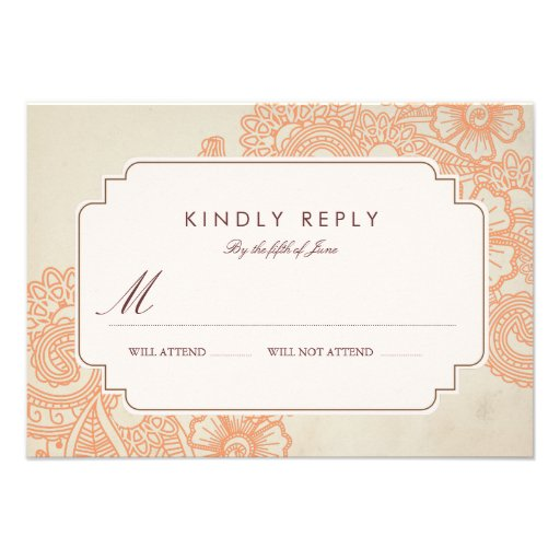 Mod Mehandi Wedding RSVP Personalized Announcements