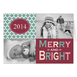 Mod Merry and Bright Colorful Folded Holiday Greeting Card