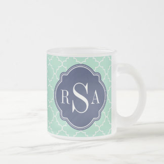 Mod Mint Green Trellis Blue Monogram Mugs