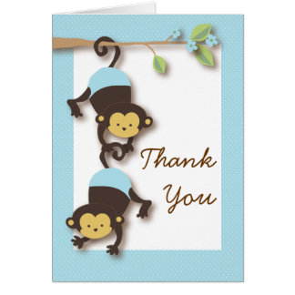 Mod Monkey Baby Boy Blue Thank You Card