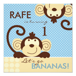 Mod Monkey Birthday 13 Cm X 13 Cm Square Invitation Card