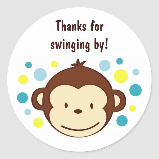 Mod Monkey Birthday Favour Stickers