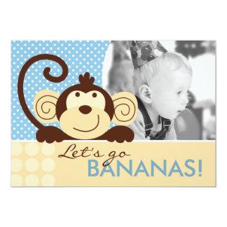 "Mod Monkey Birthday Invitation A7-A 5"" X 7"" Invitation Card"