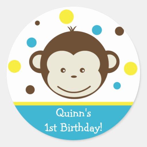 Mod Monkey Birthday Party Sticker Label Boy Kid