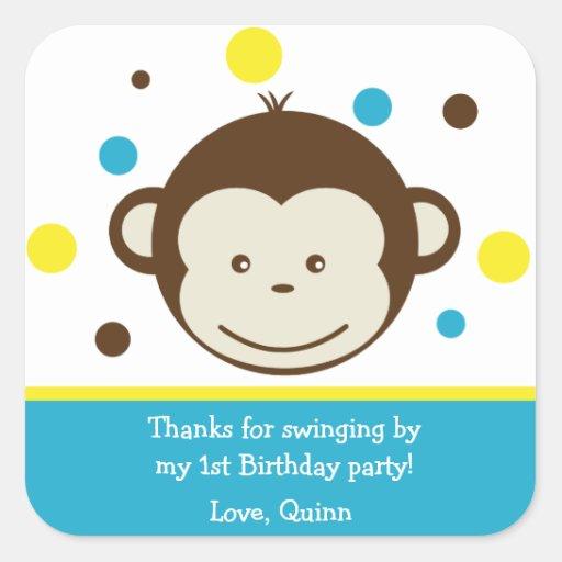 Mod Monkey Boy Birthday Party Thank You Stickers