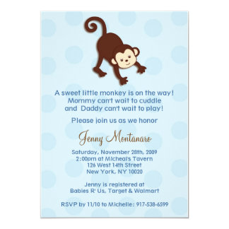 Mod Monkey Custom Baby Shower Invitations