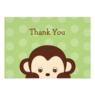 Mod Monkey Dots Flat Thank You Note Cards Custom Invite