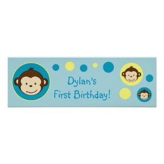 Mod Monkey Dots Personalized Birthday Banner Poster