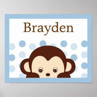 Mod Monkey Dots Personalized Name Art Print