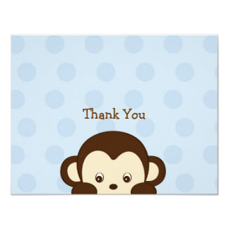 Mod Monkey Flat Thank You Note Cards 11 Cm X 14 Cm Invitation Card