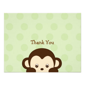 Mod Monkey Flat Thank You Note Cards Invitation