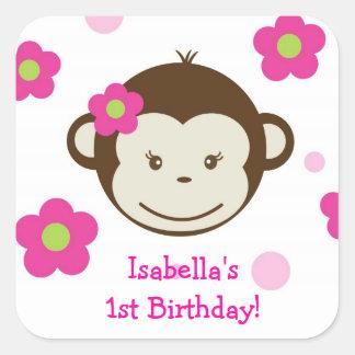 Mod Monkey Girl  Birthday Favor Stickers Labels