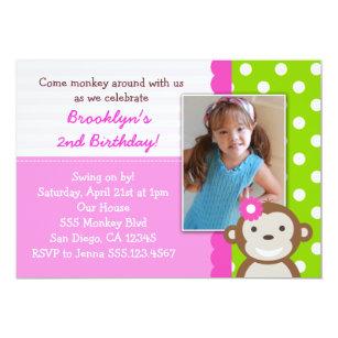 Mod monkey girl invitations announcements zazzle au mod monkey girl birthday invitation pink filmwisefo