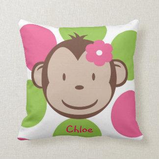 Mod Monkey Girl Throw Pillow