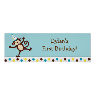 Mod Monkey Personalized Birthday Banner Sign Print