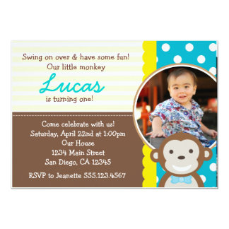 Mod Monkey Photo 1st Birthday Invitation