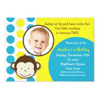 Mod Monkey Photo Birthday Party Invitations