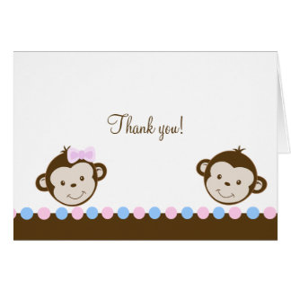 Mod Monkey Twins Pink/Blue Folded Thank you notes