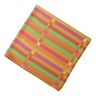 Mod Orange and Green Stripes and Squares Bandana