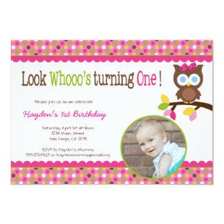 Mod Owl 1st Birthday Invitation - First Party