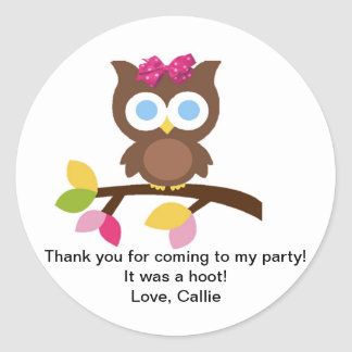 Mod Owl Design Birthday Party Invitation Favors Round Sticker