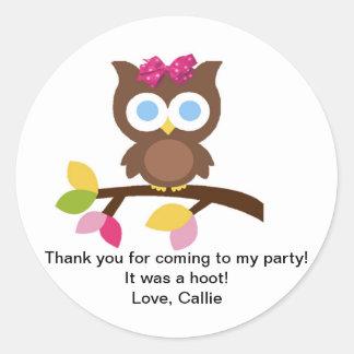 Mod Owl Design Birthday Party Invitation Favors Round Sticker